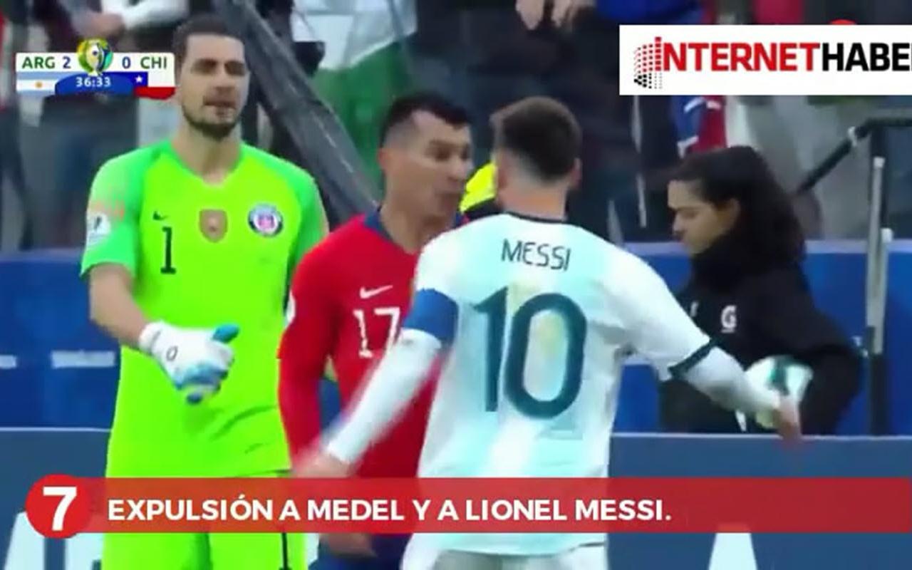 Gary Medel'den Messi'ye kafa!
