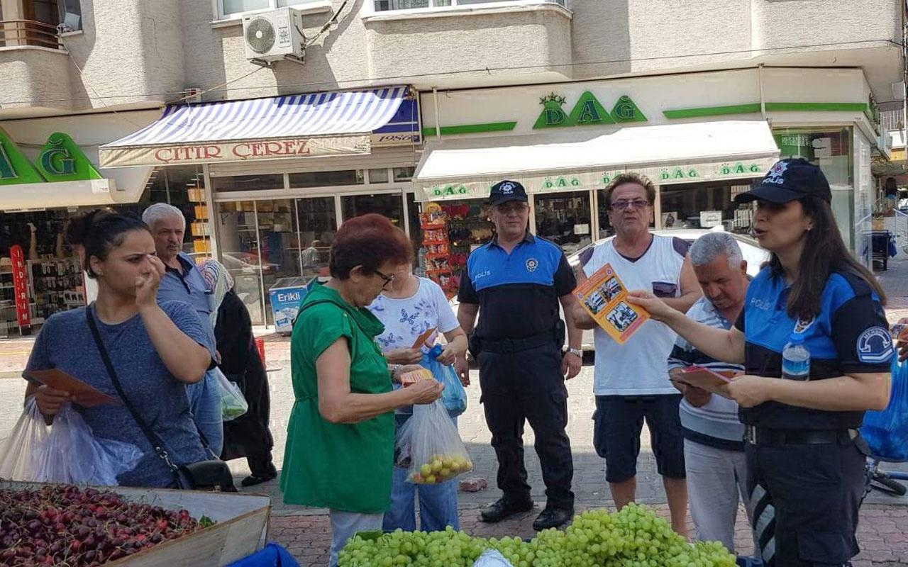Mersin polisi çarşı-pazarları gezerek dolandırıcılık uyarısı yaptı!