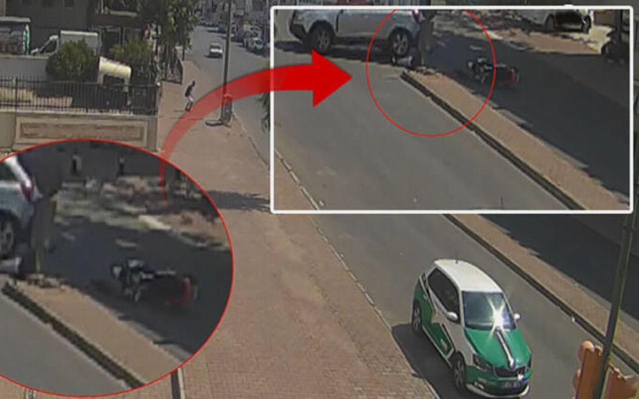 Antalya'da kazadan mucize eseri kurtulan motosiklet sürücüsü