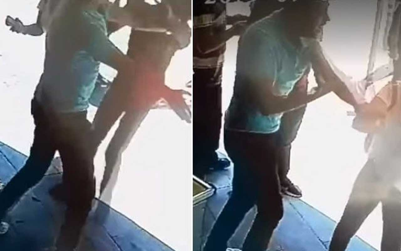 Elazığ'da tartıştığı kız arkadaşını iten şahsı tokatladı o anlar saniye saniye kaydedildi