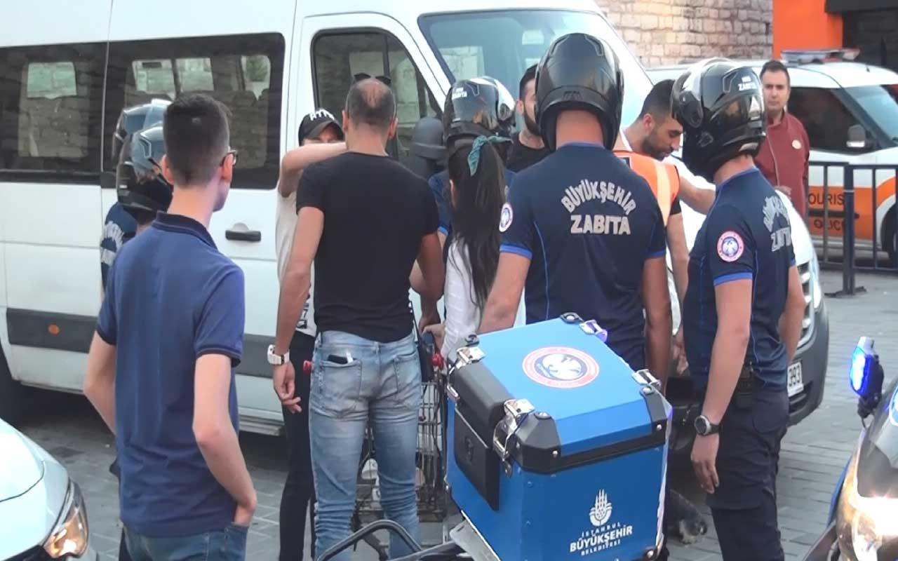 Taksim'de zabıtadan seyyar satıcılara sert müdahale
