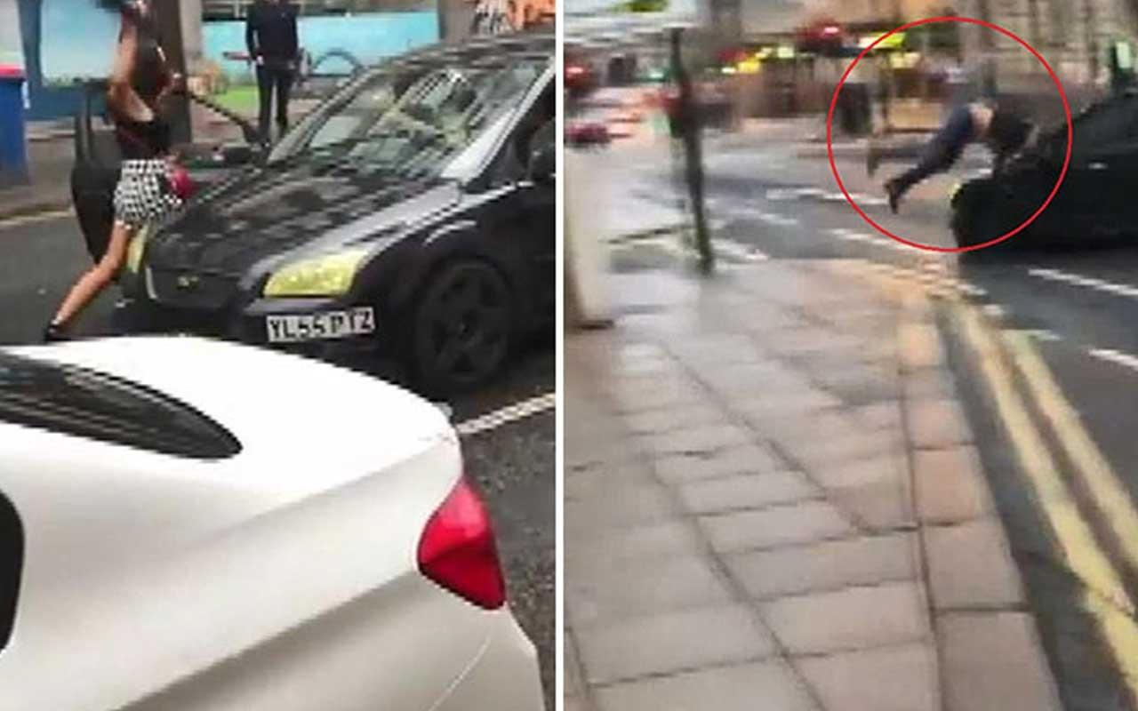 İngiltere'de trafik terörist durmak bilmedi! O anlar kamerada
