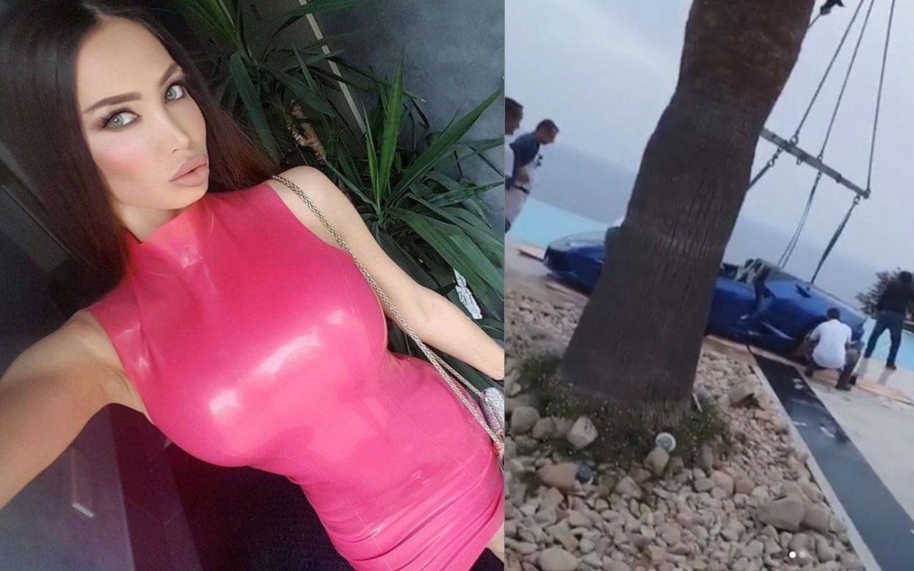 Neymar'ın eski sevgilisi ünlü manken Soraja Vucelic Lamborghini ile havuza uçtu!