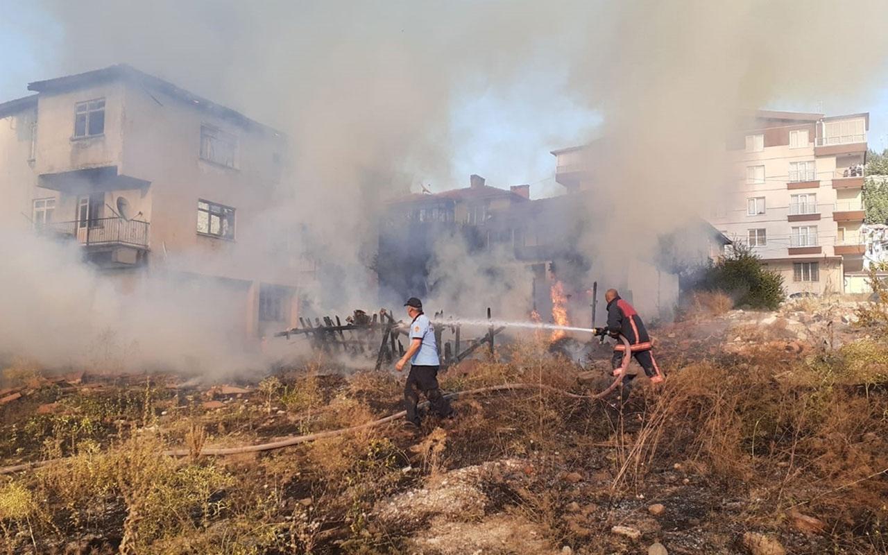 Ankara'da otluk alan yangını evlere sıçradı