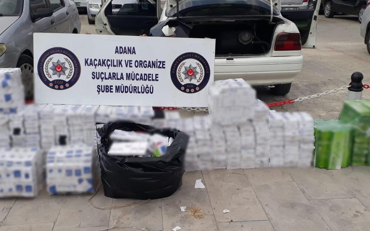 Adana'da şüphelendiği aracı durduran polis binlerce kaçak sigara yakaladı