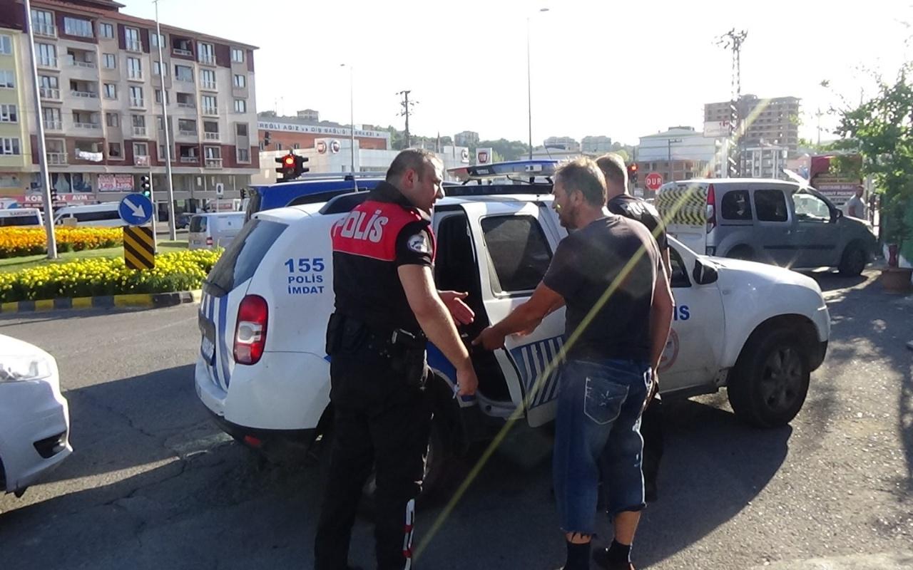Zonguldak'ta polis ile TIR sürücüsünün tartışması karakolda bitti