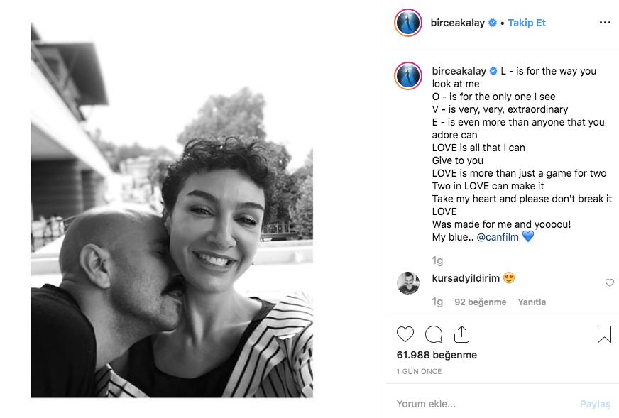 Birce Akalay sosyal medyada sevgilisiyle aşk fotoğrafını paylaştı!