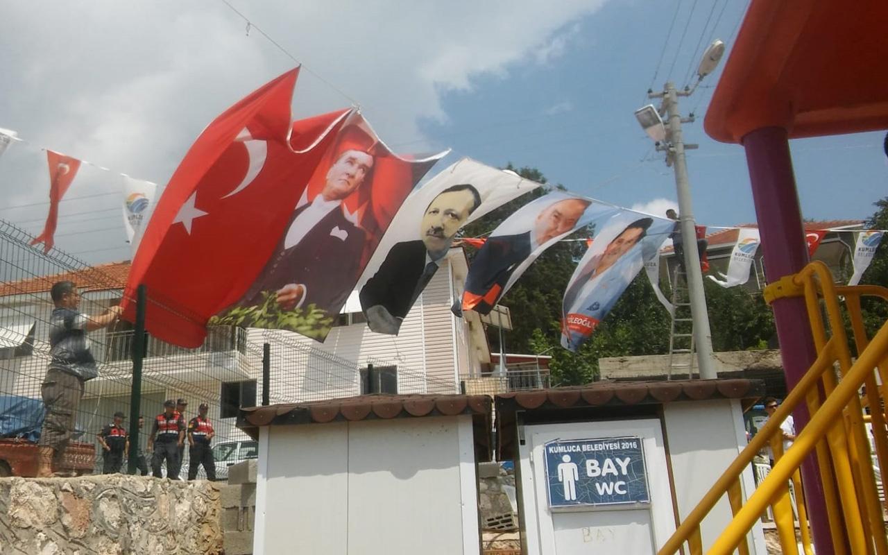 Kumluca'da şenlikte Cumhurbaşkanı Erdoğan'ın posteri indirildi tansiyon yükseldi