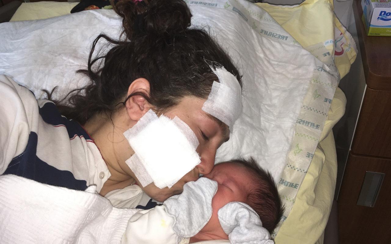 Kocası tarafından hastanede saldırıya uğramıştı! İşte duygusal anlar bebeğini kucağına aldı