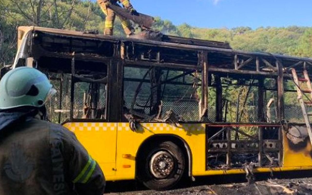 Korku dolu anlar! Beykoz'da İETT otobüsü alev topuna döndü