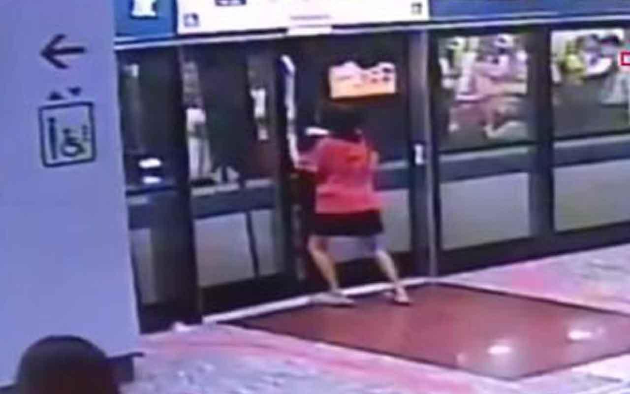 Aceleci kadın platform ile tren arasında sıkıştı