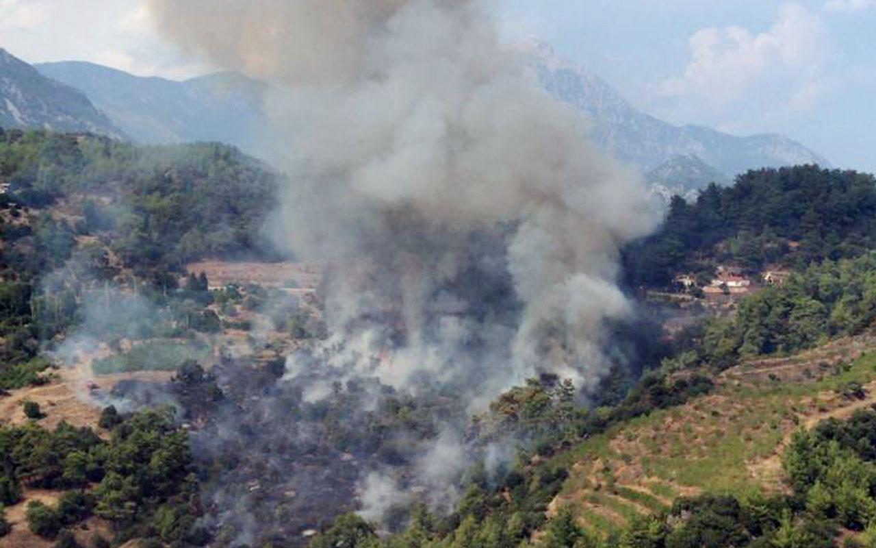 Antalya'daki orman yangınına havadan ve karadan müdahale ediliyor