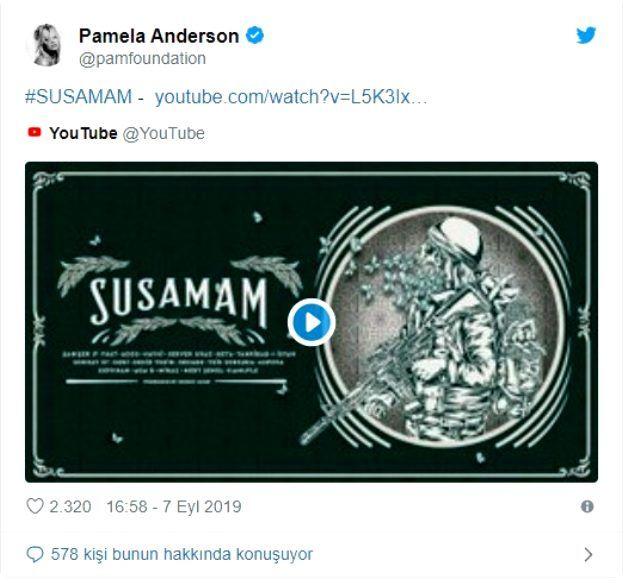 Şanışer'in Susamam şarkısını Amerikalı Pamela Anderson örnek olsun deyip paylaştı