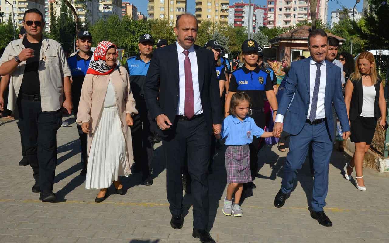 Adana emniyet müdürü şehit kızı Hafza'yı okulun ilk günü yalnız bırakmadı