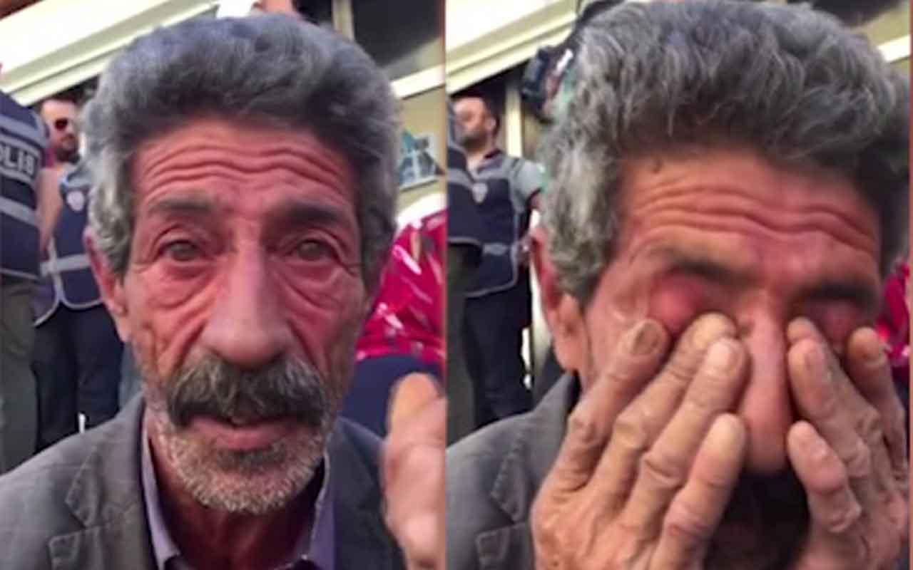 Diyarbakır'da HDP önünde oturma eylemine katılan babanın gözyaşları