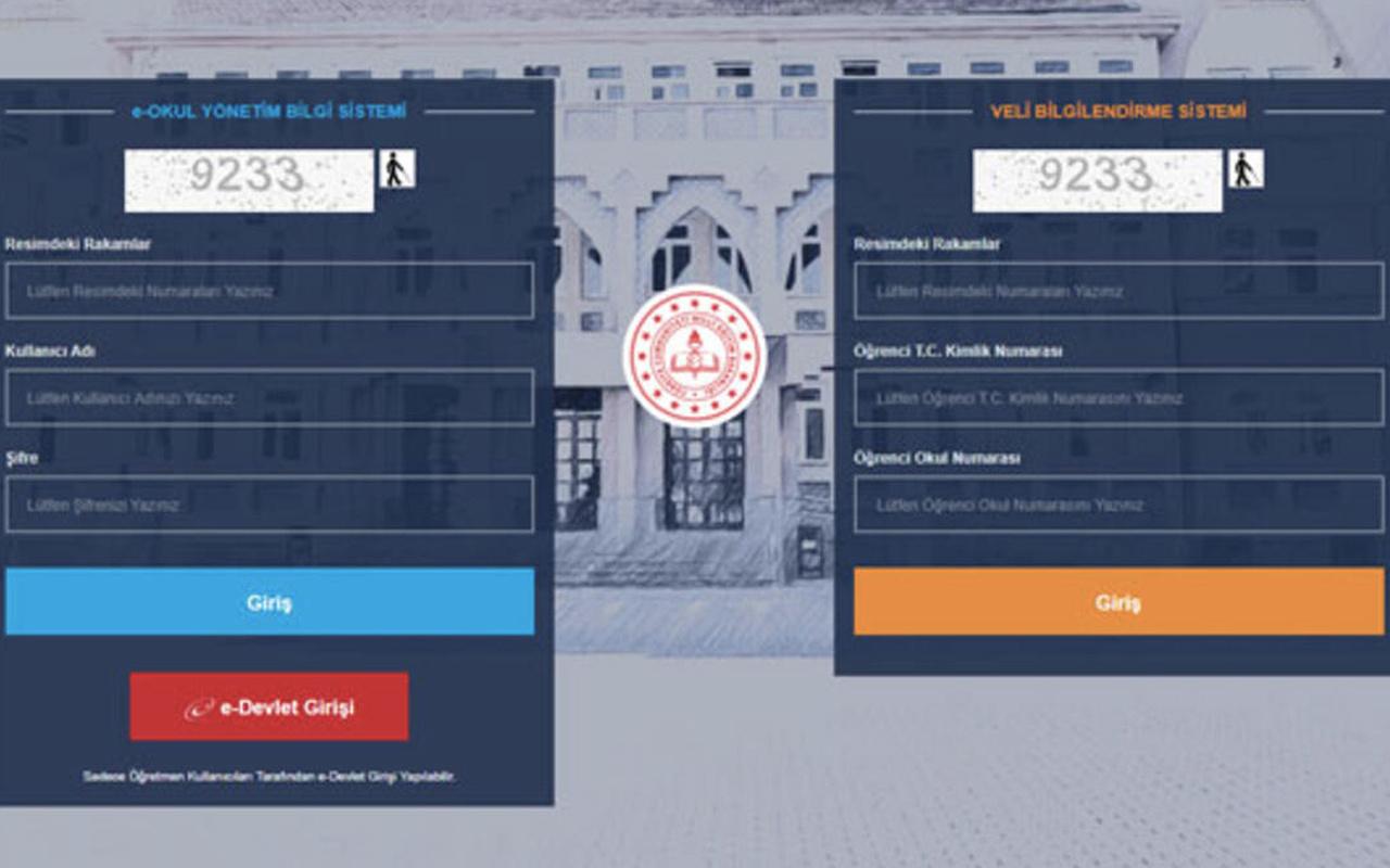 e okul VBS giriş ekranı sınav sonucu öğrenme bilgisi