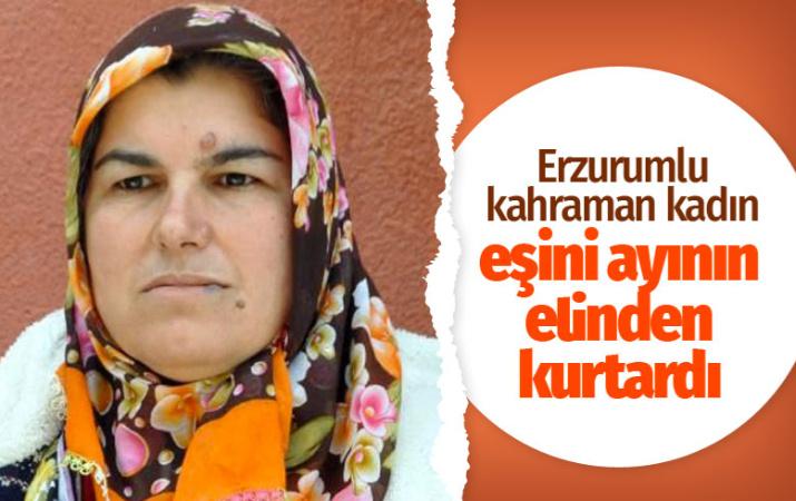 Erzurumlu kahraman kadın eşini ayının elinden kurtardı