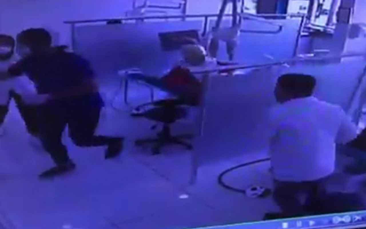 Dişçide deprem anı kamerada