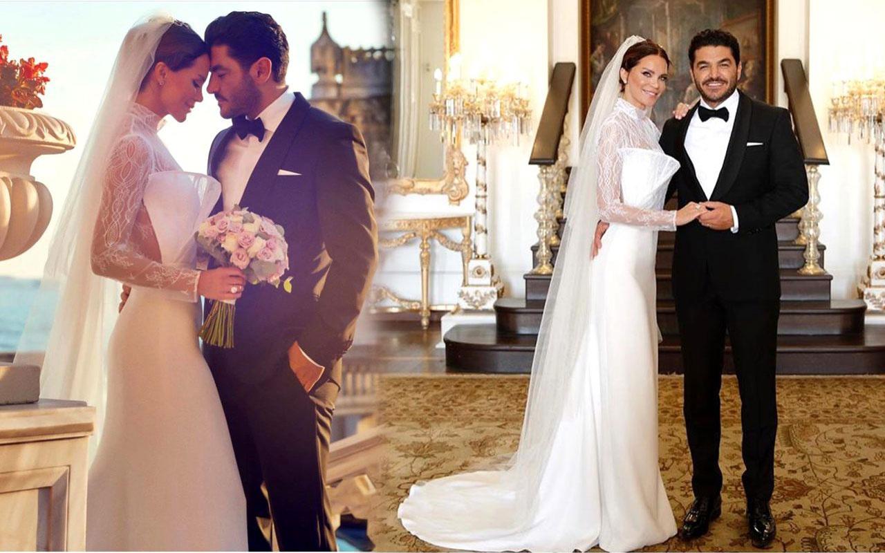 Ebru Şallı ve Uğur Akkuş Çırağan Sarayı'nda evlendi! Tektaşın büyüklüğü olay oldu