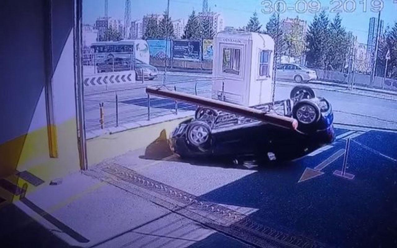 Başakşehir'de pes dedirten kaza fren yerine gaza basınca araba takla attı