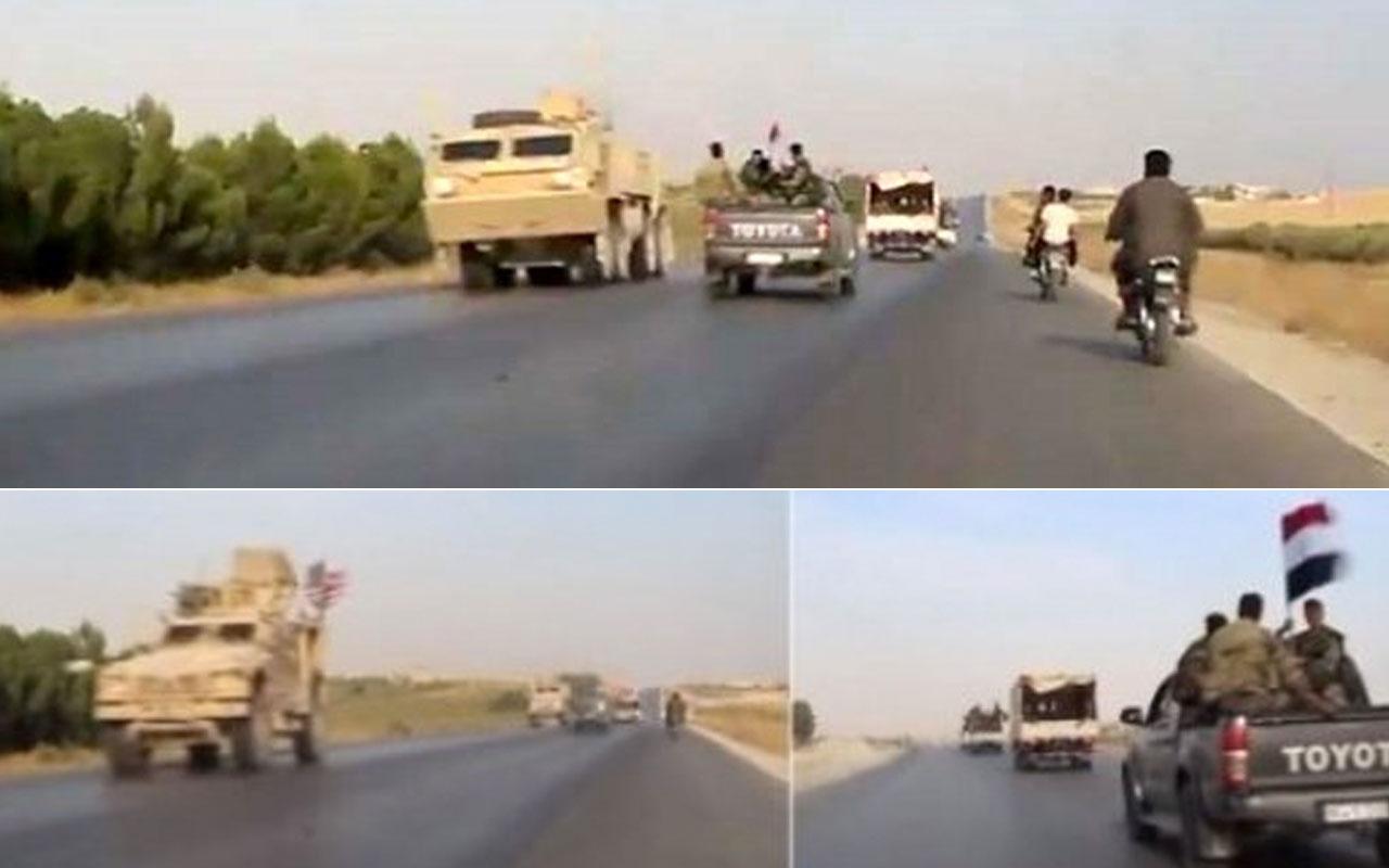 İlginç anlar! ABD askerleri ile Suriye rejimi askerleri otoyolda karşılaştı