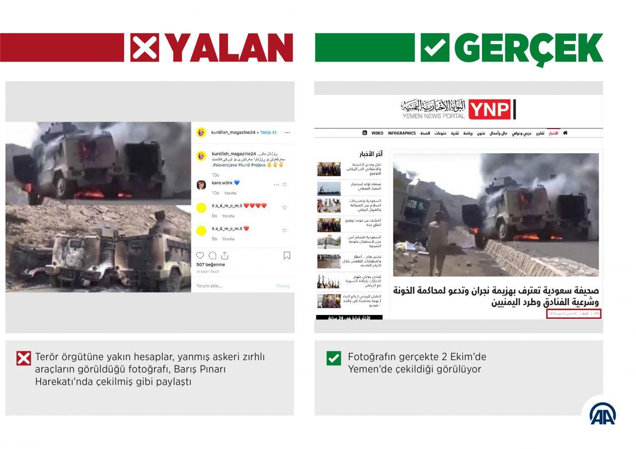 Barış Pınarı Harekatı aleyhine 'yanan askeri araç' fotoğraflarıyla manipülasyon