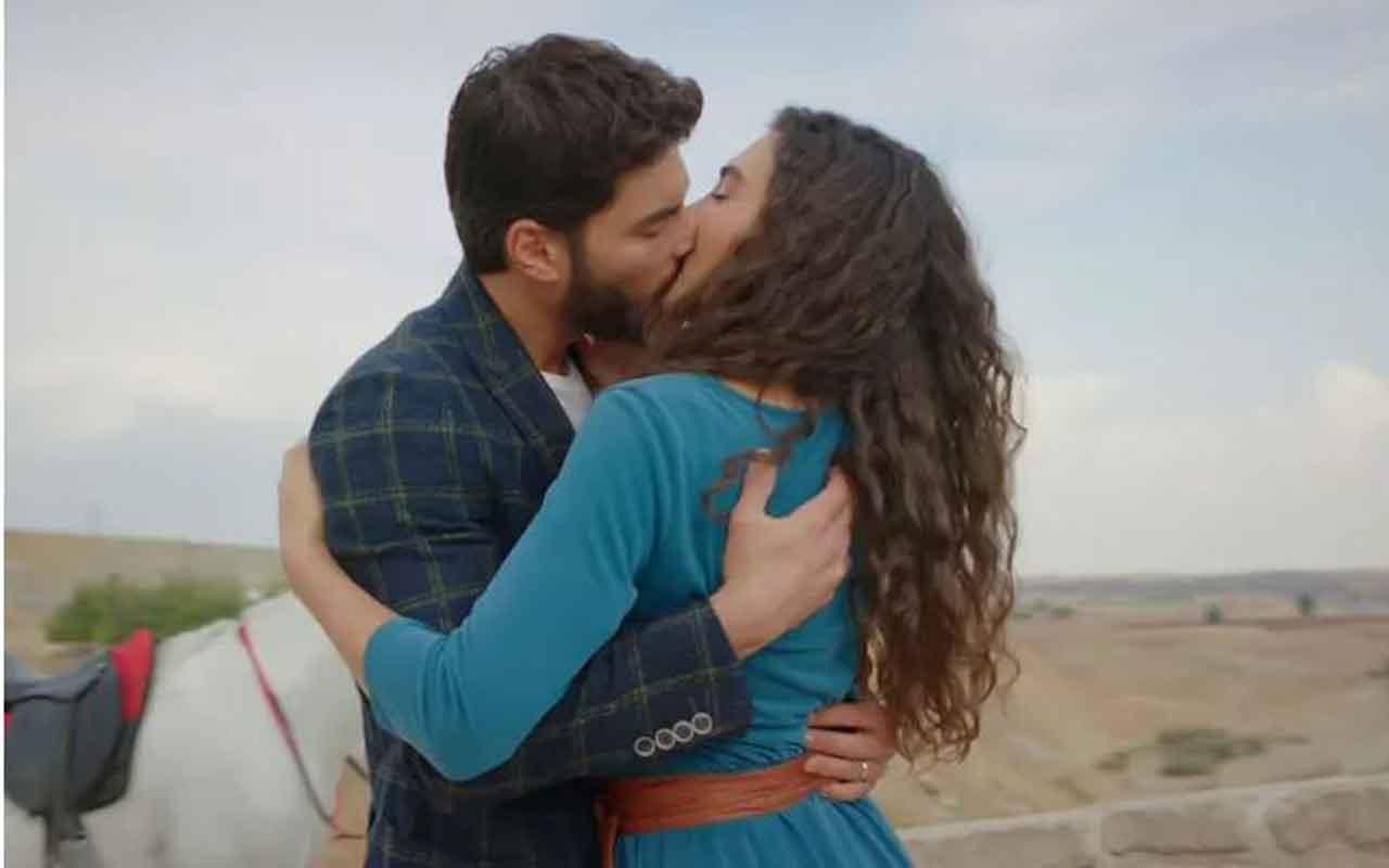 Hercai Reyyan ve Miran'ın ateşli öpüşme sahnesi
