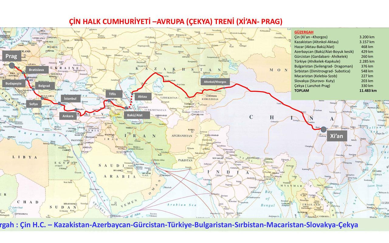 Çin - Türkiye - Prag tren hattı güzergahı! Seferler başladı Türkiye'deki durakları