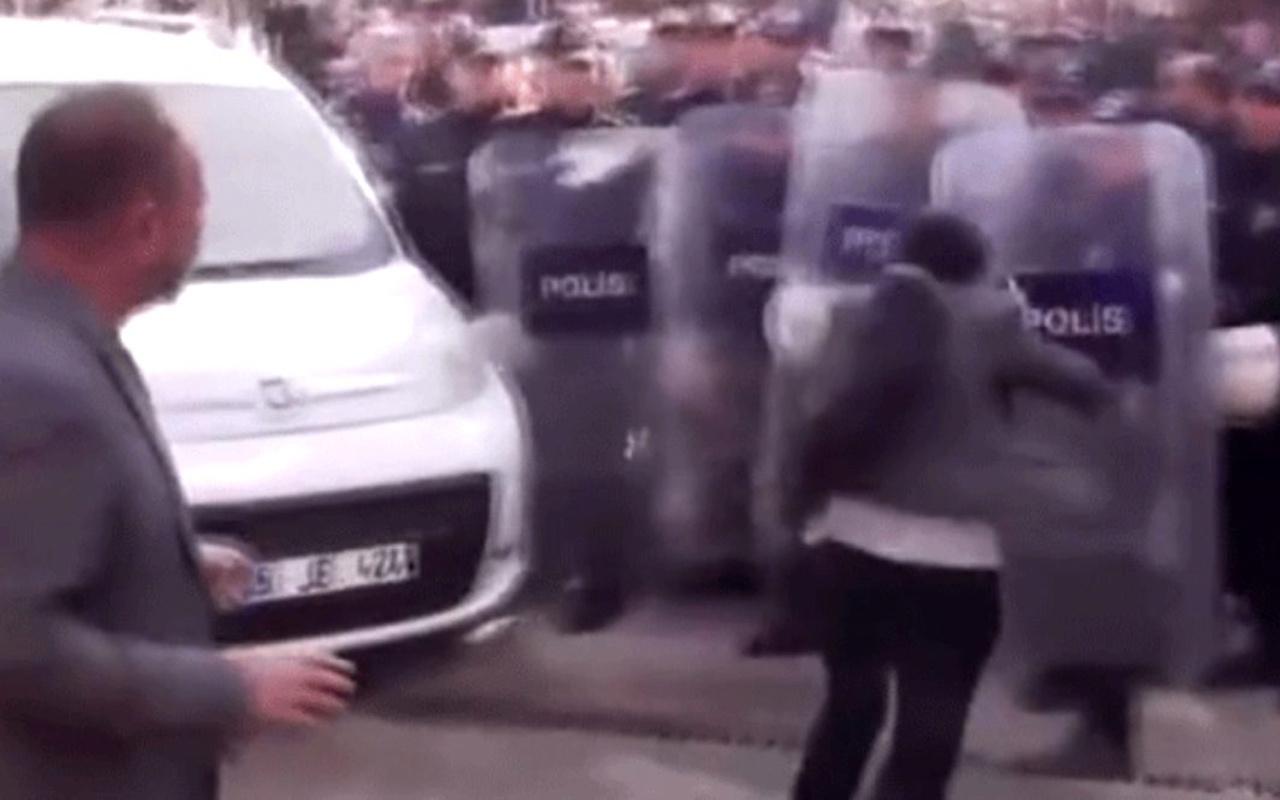 HDP'li milletvekili polis kalkanına kafa attı! Sosyal medyada olay oldu