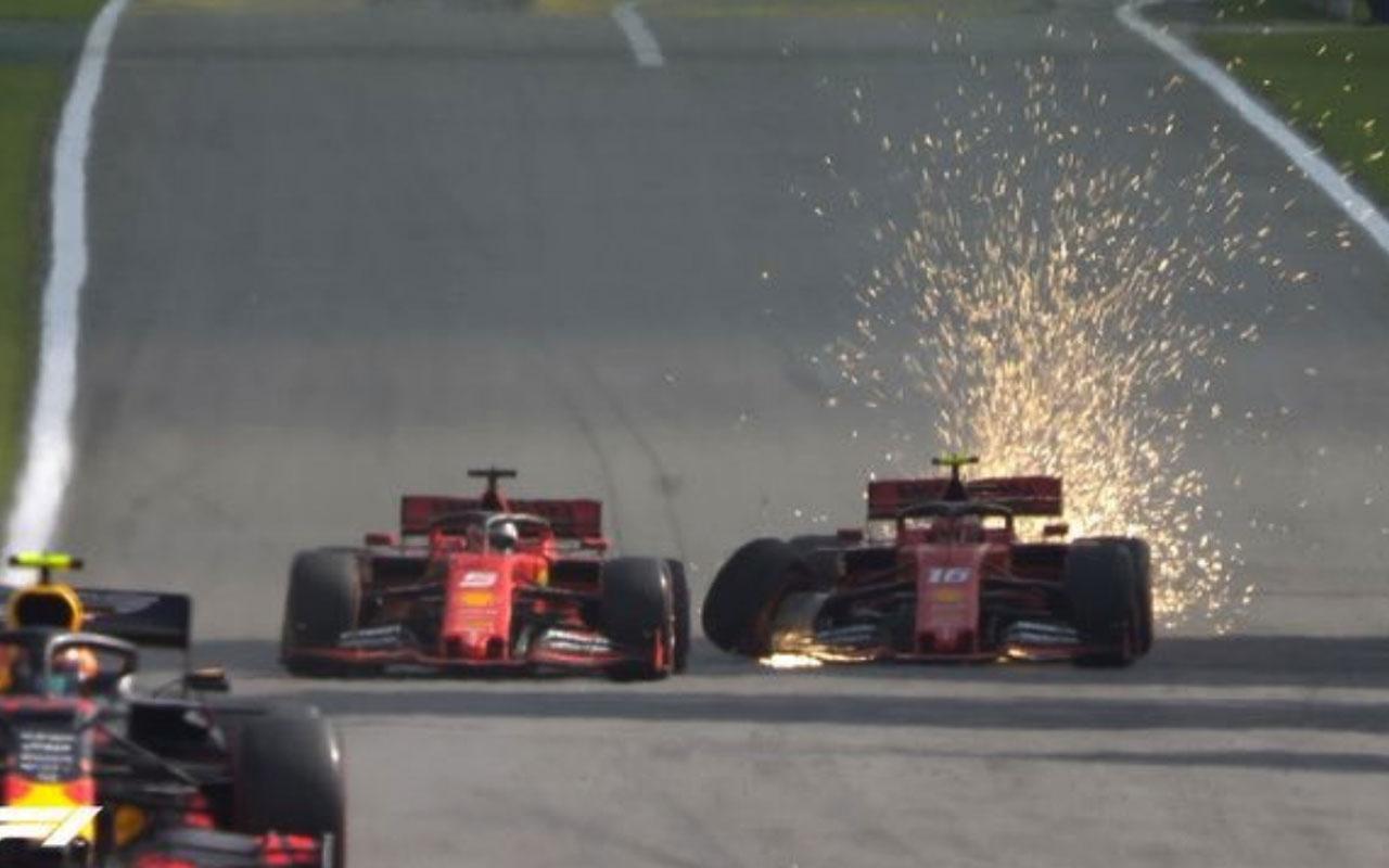 Formula 1'de Ferrari'nin iki pilotu birbirine girdi