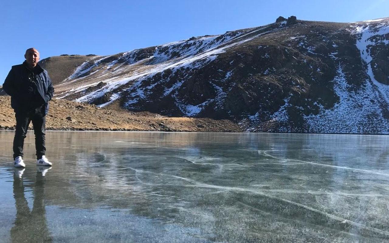 Şırnak'ta sıcaklık eksi 17'yi gördü göller adeta buz pistine dönüştü
