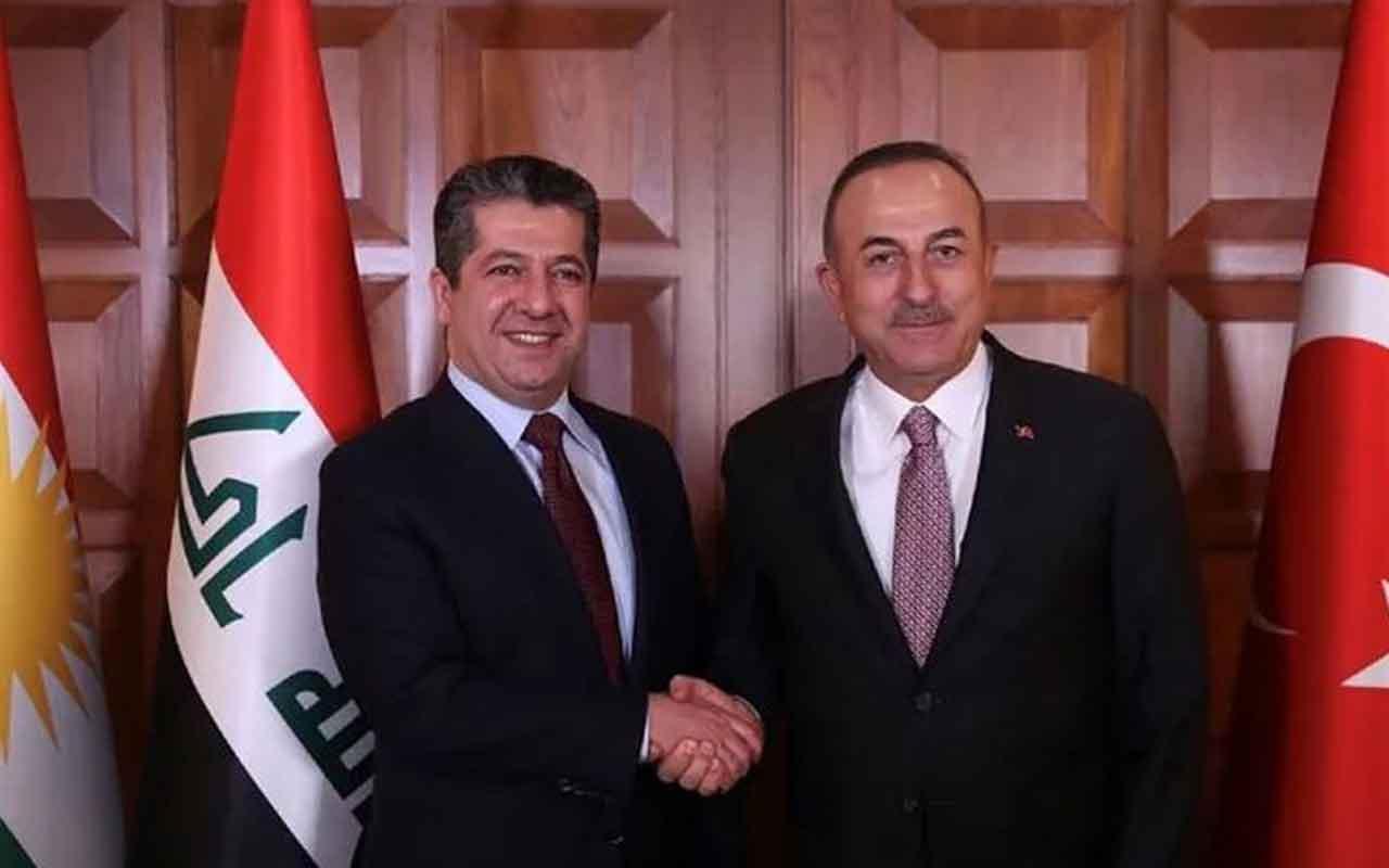 Mevlüt Çavuşoğlu, IKBY Başbakanı Mesrur Barzani ile basın toplantısı düzenledi