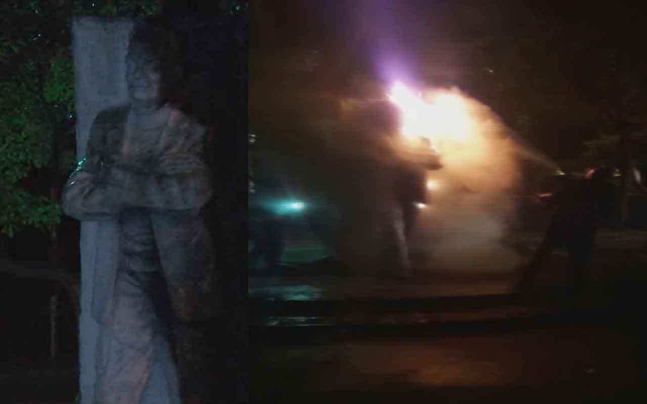 Beşiktaş'ta Şairler Parkı'ndaki Melih Cevdet Anday heykeli yakıldı