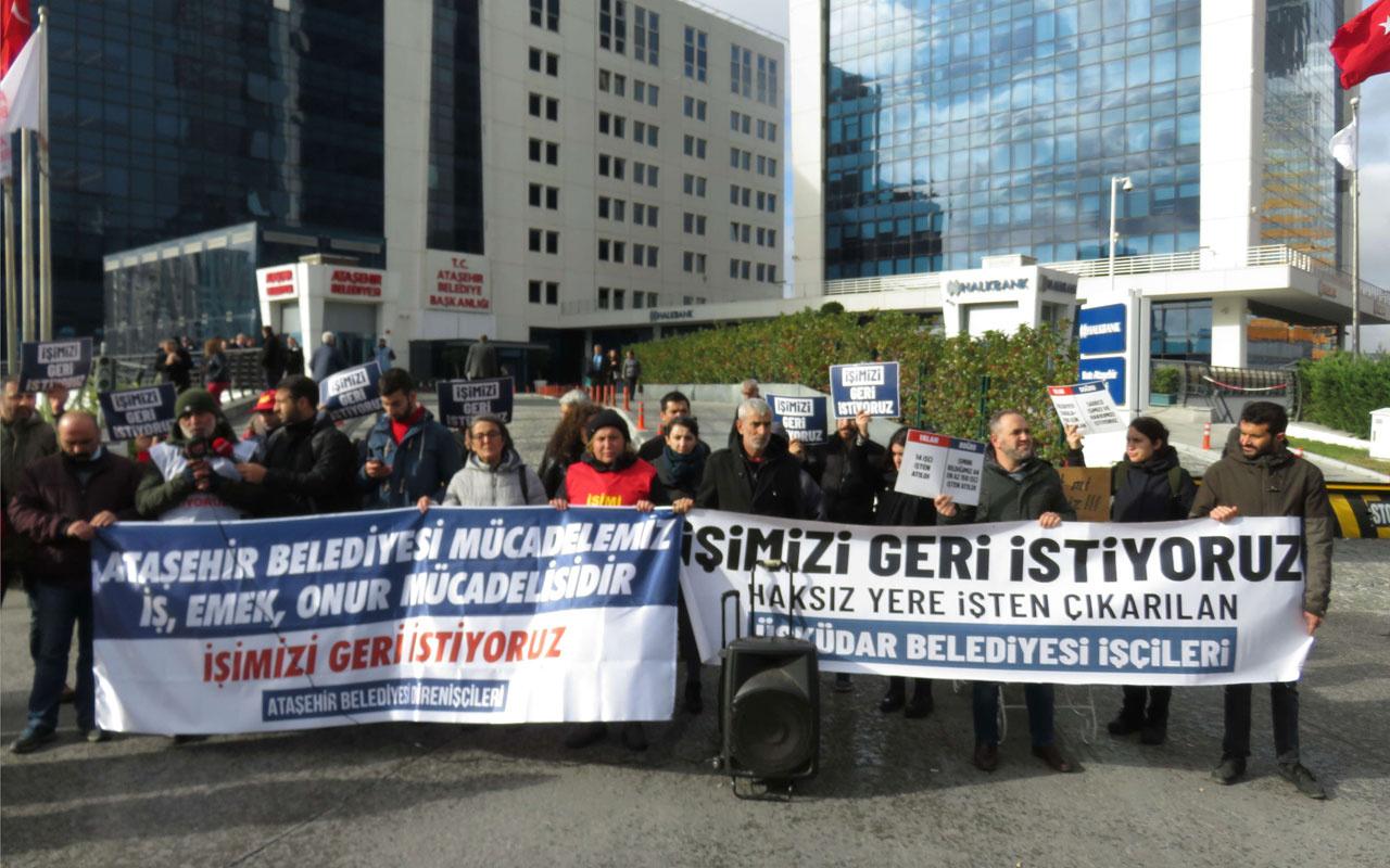 Ataşehir Belediyesi önünde işçilerden eylem
