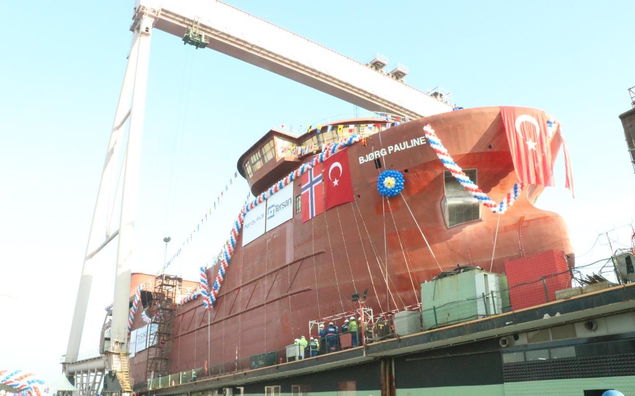Türkiye'de bir ilk! Norveçli firma için Yalova'da inşa edilen gemi denize indirildi