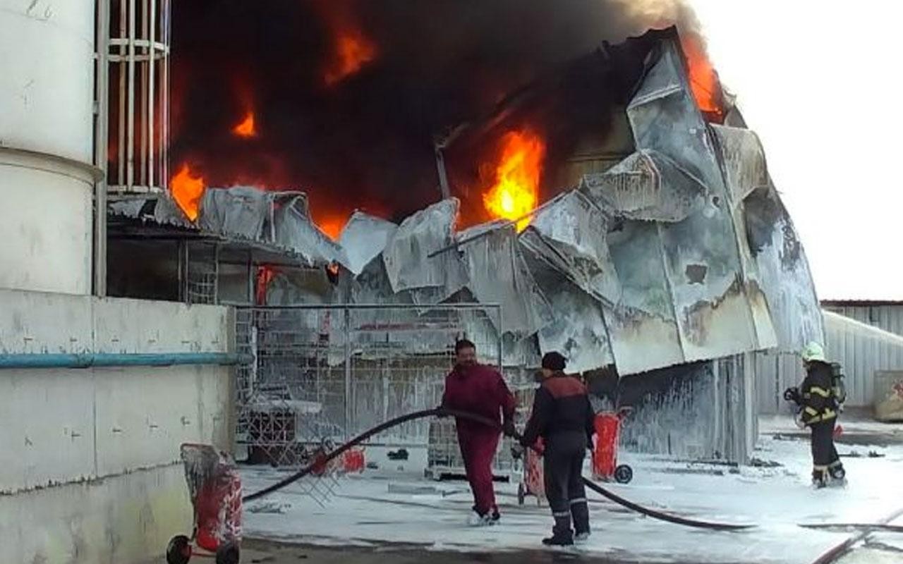 Kocaeli'de atık fabrikasında korkutan yangın