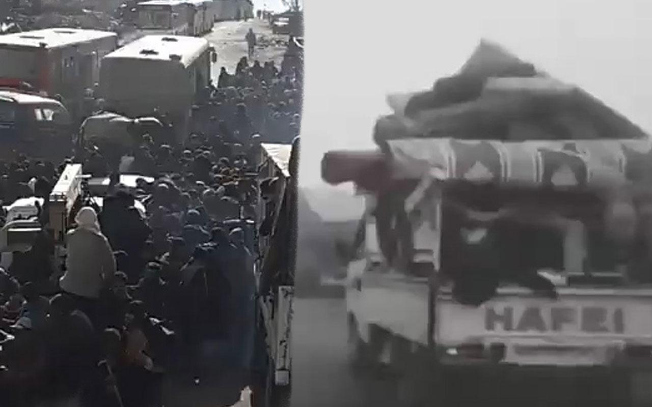 Tası tarağı topladılar İdlib'den Türkiye'ye geliyorlar