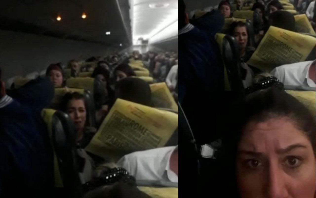 Ordu'da uçakta panik anları kamerada! Yolcular fenalaştı