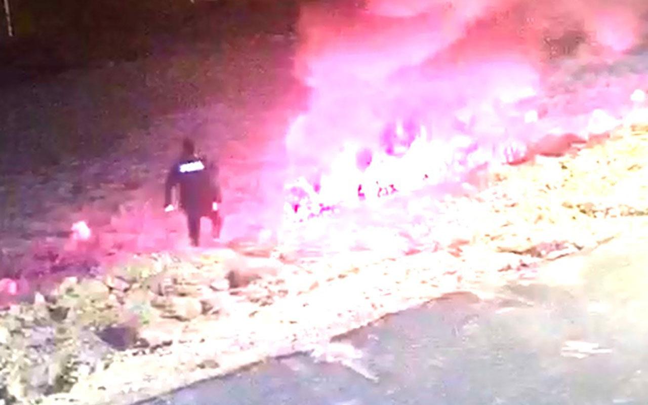 Olay yeri Gaziantep! Polis yanan araçtan sürücüyü çekerek böyle kurtardı