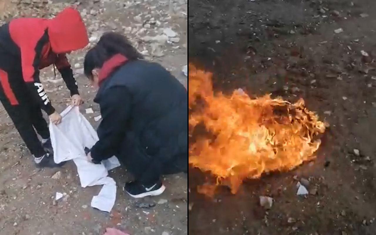 Balıkesir'de bir kadın aldatan eşinin kıyafetlerini yaktı