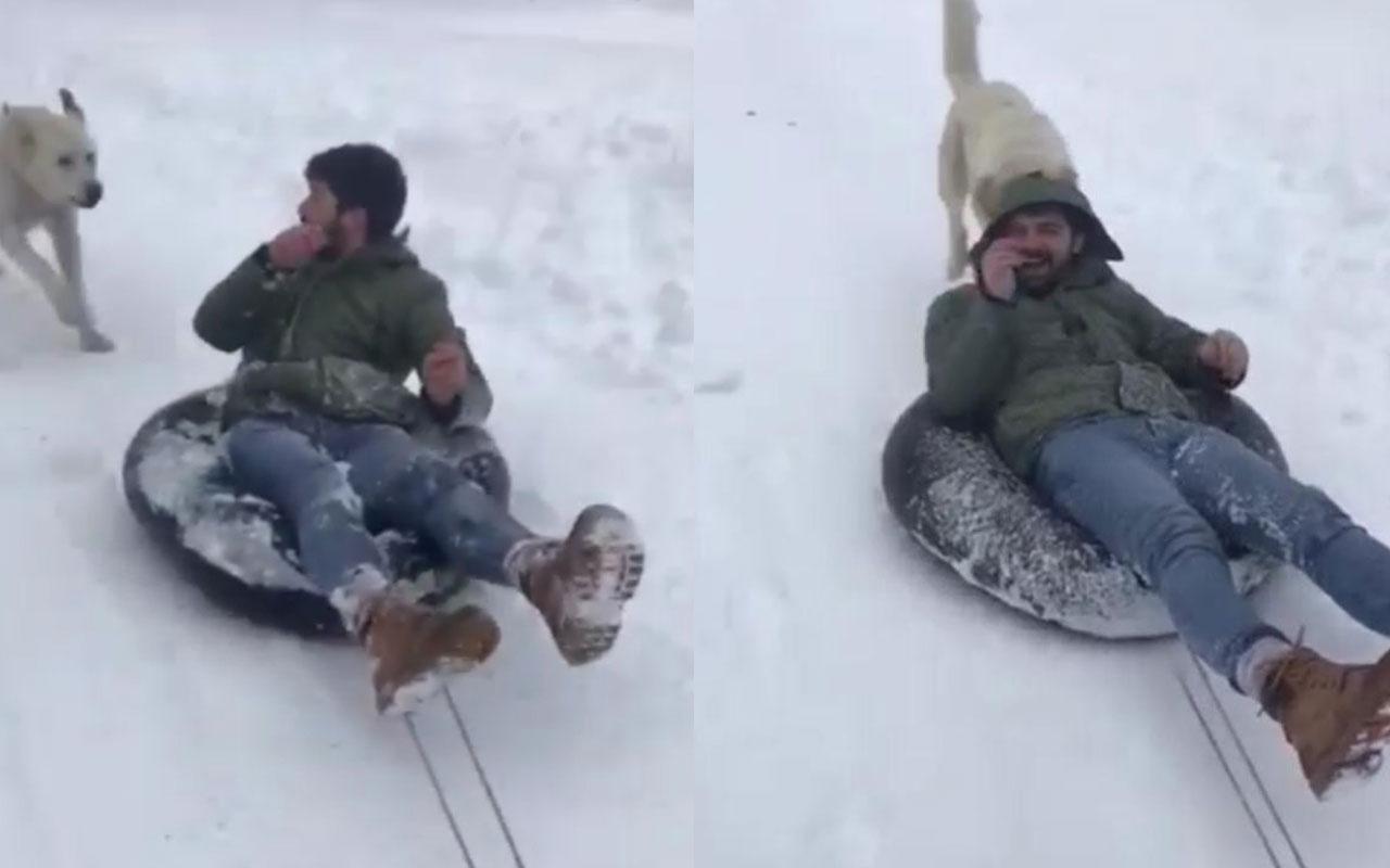 Rize'de karda eğlenmek isterken korkuyu yaşadı