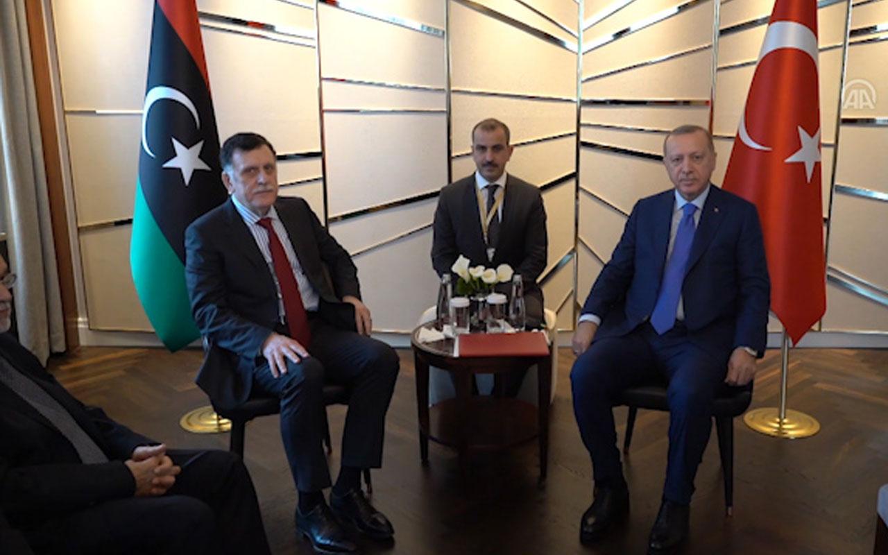Cumhurbaşkanı Erdoğan Libya Hükümeti Başbakanı Serrac ile görüştü