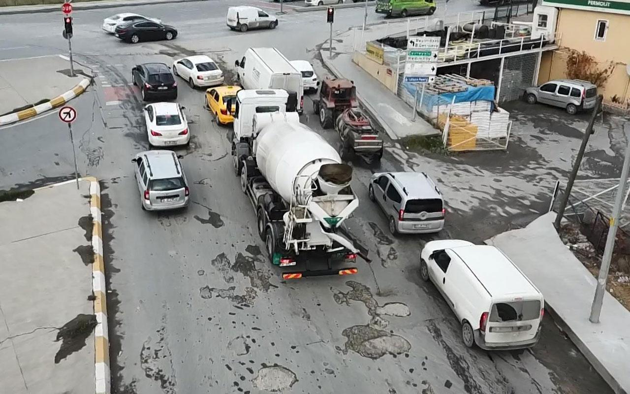 Esenyurt'ta beton mikseri sürücüsü kameralara yakalandı