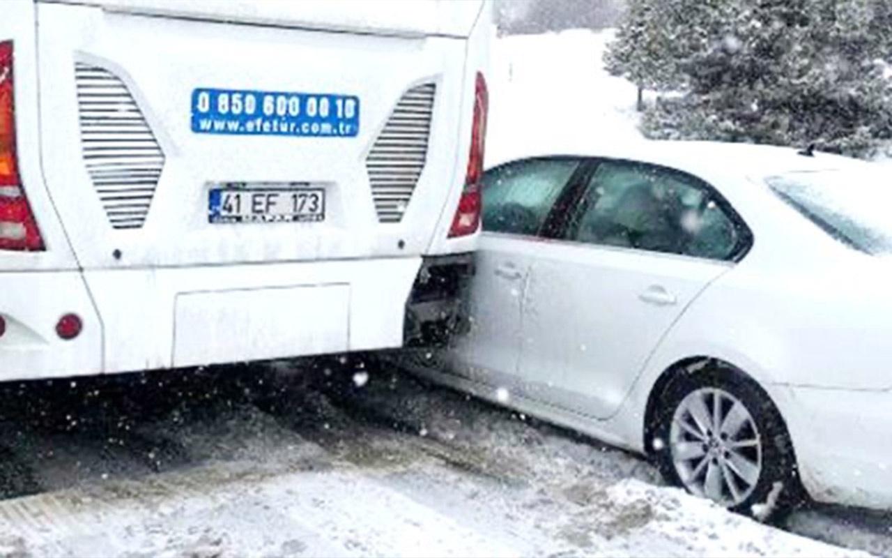 Bolu Dağı'nda kar yağışı yüzünden zincirleme kaza! Tam 8 km kuyruk oluştu