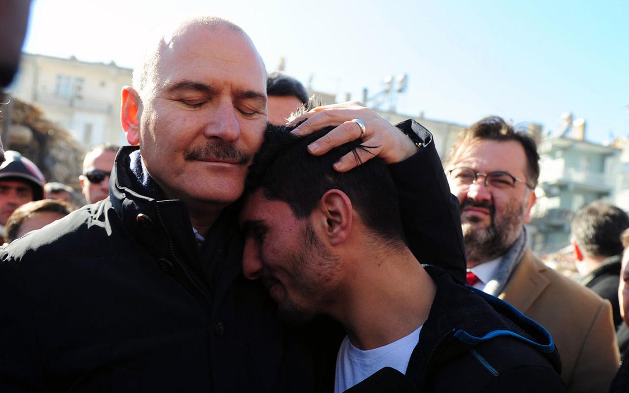 Süleyman Soylu depremzedeleri enkazdan çıkaran SuriyeIi Mahmud'a teşekkür etti