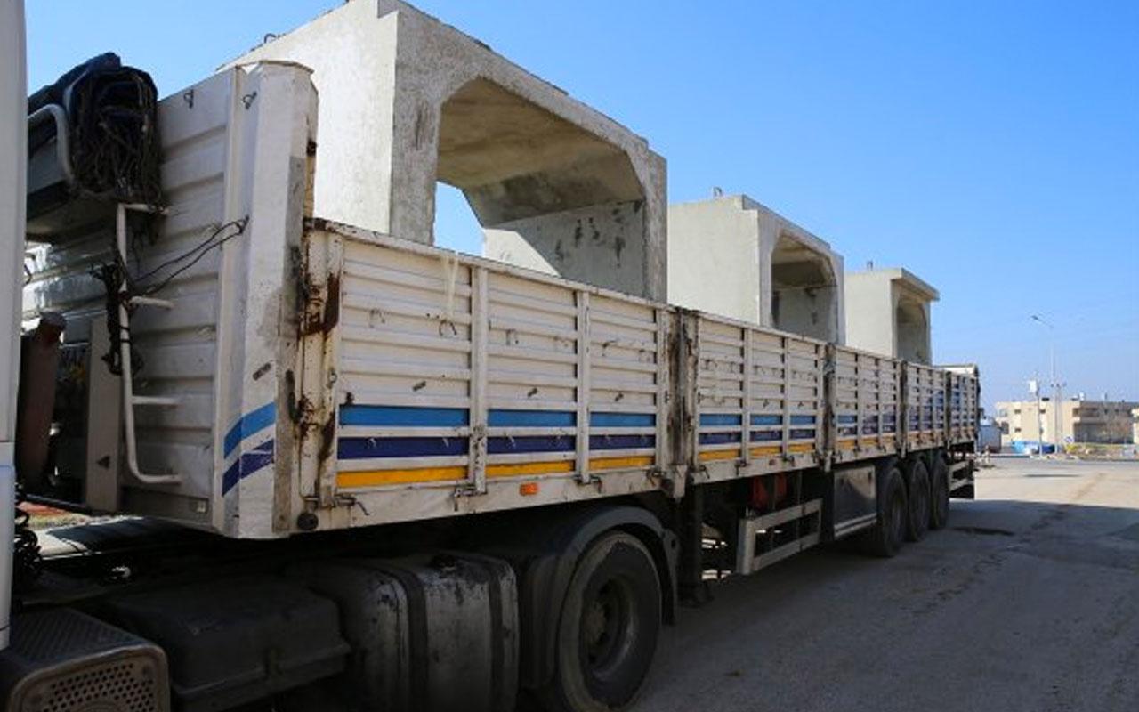 Suriye sınırındaki birliklere 9 tonluk beton mevzi sevkiyatı