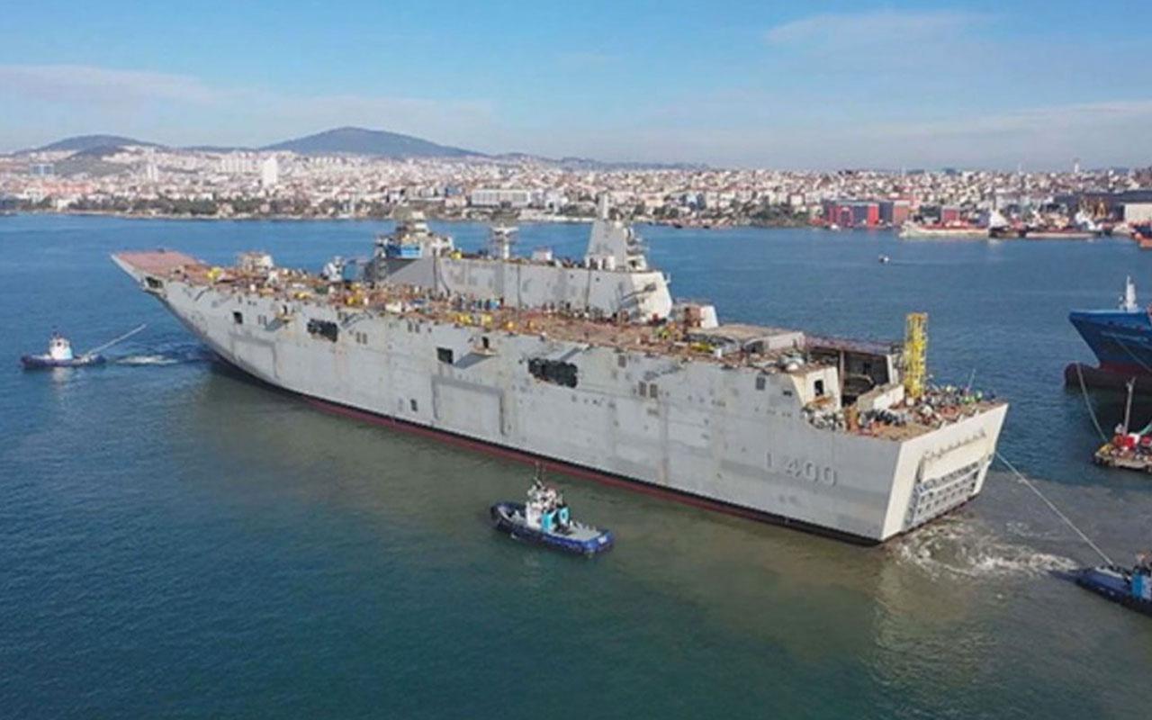 Türkiye'nin ilk milli uçak gemisi TCG Anadolu denize indi heyecanlandıran anlar