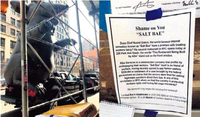 Sendikasız işçi çalıştırıyor iddiası olay Nusret Gökçe'ye 'dev sıçan'lı protesto!