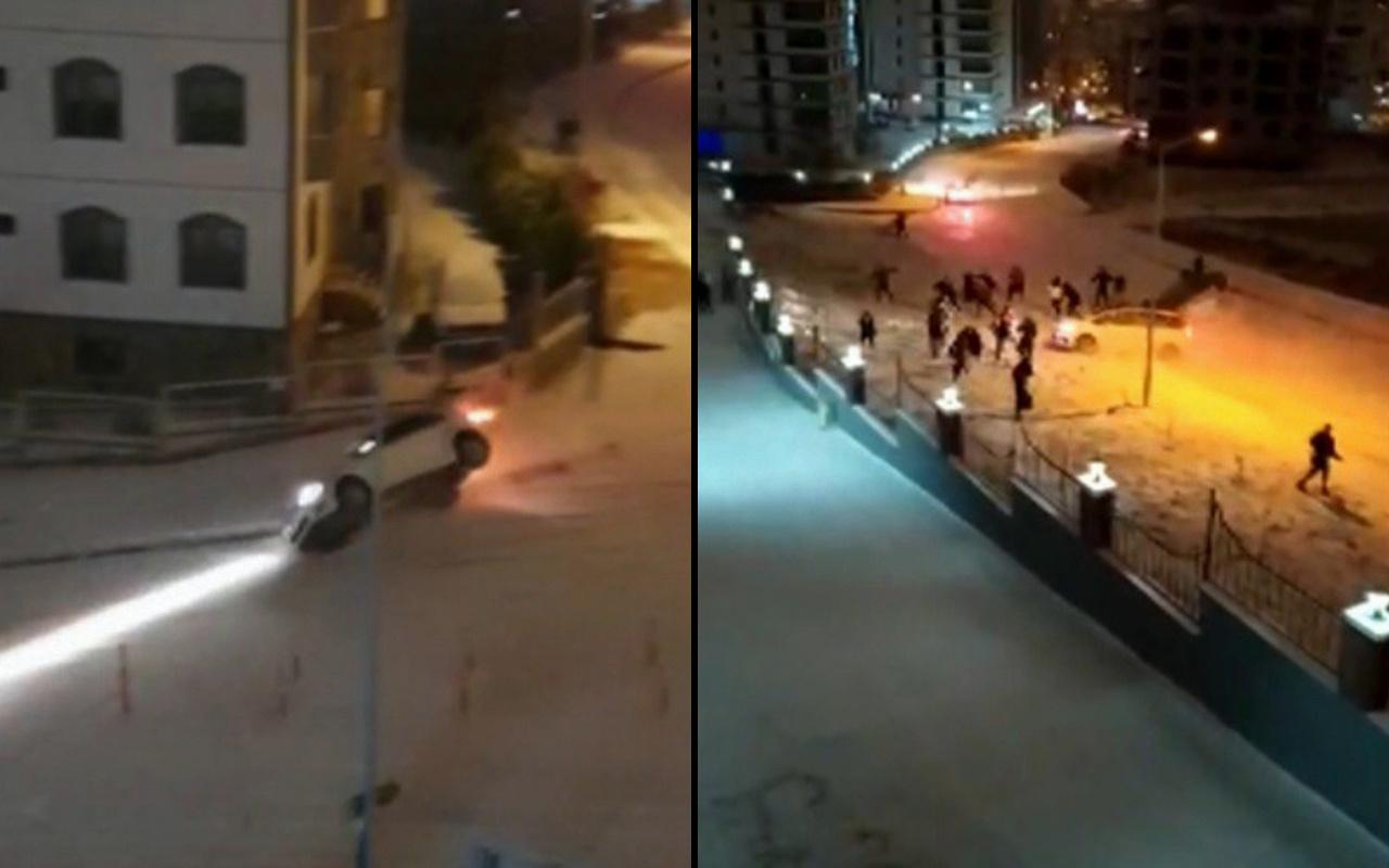 Samsun'da karda kayan araçların kaza anları görüntülendi