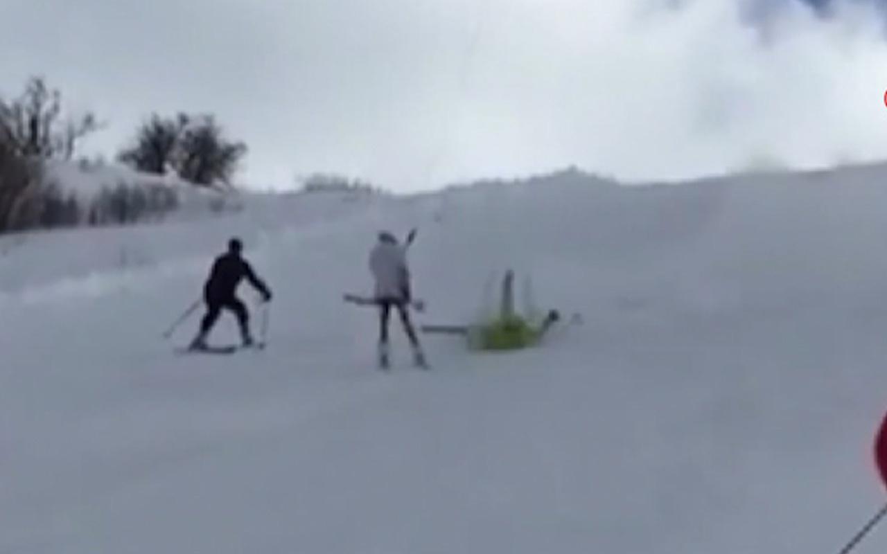 İki kayakçının çarpıştığı anlar kamerada